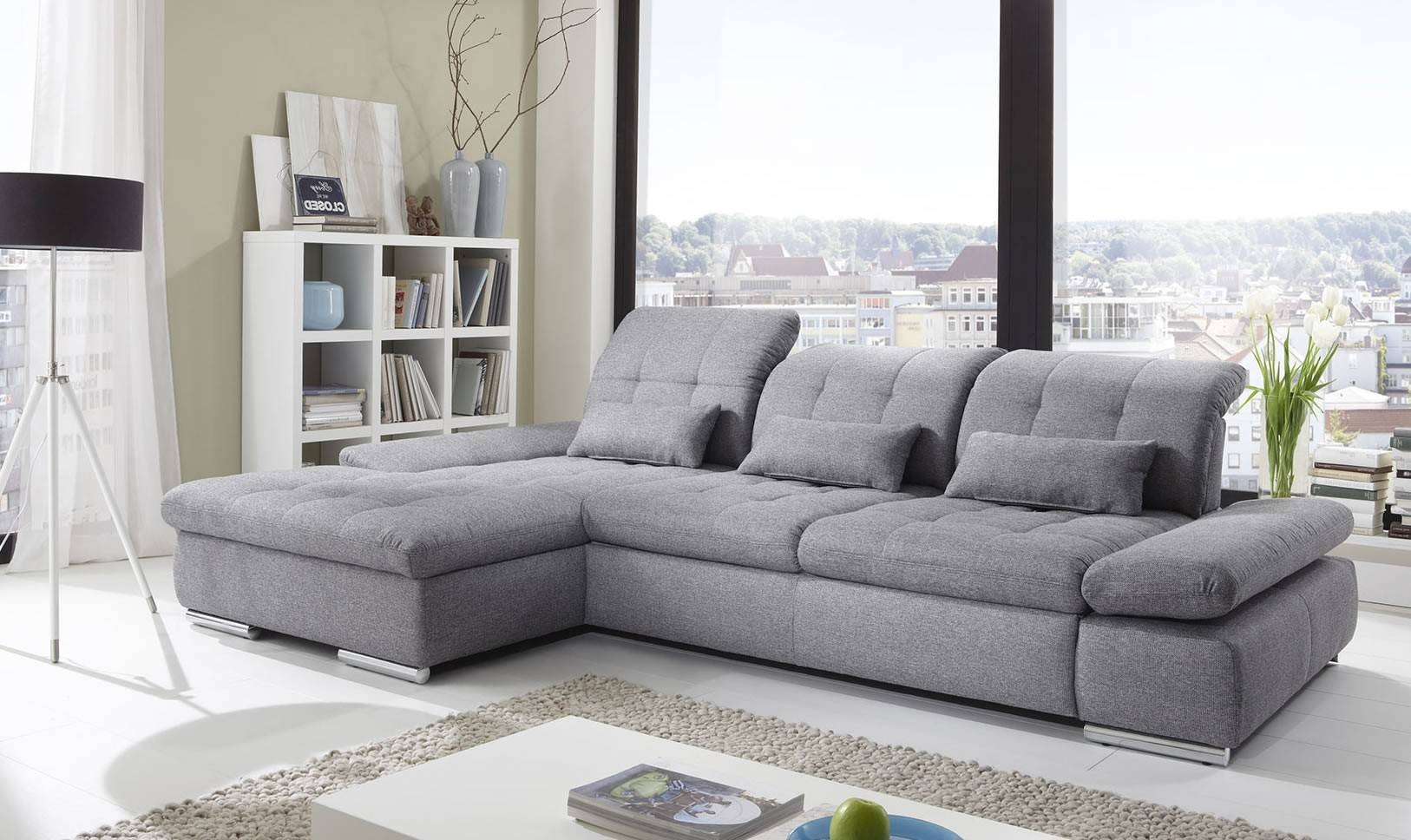 Alpine Sectional Sleeper Sofa, Left Arm Chaise Facing, Black in White Fabric Sofas (Image 1 of 30)