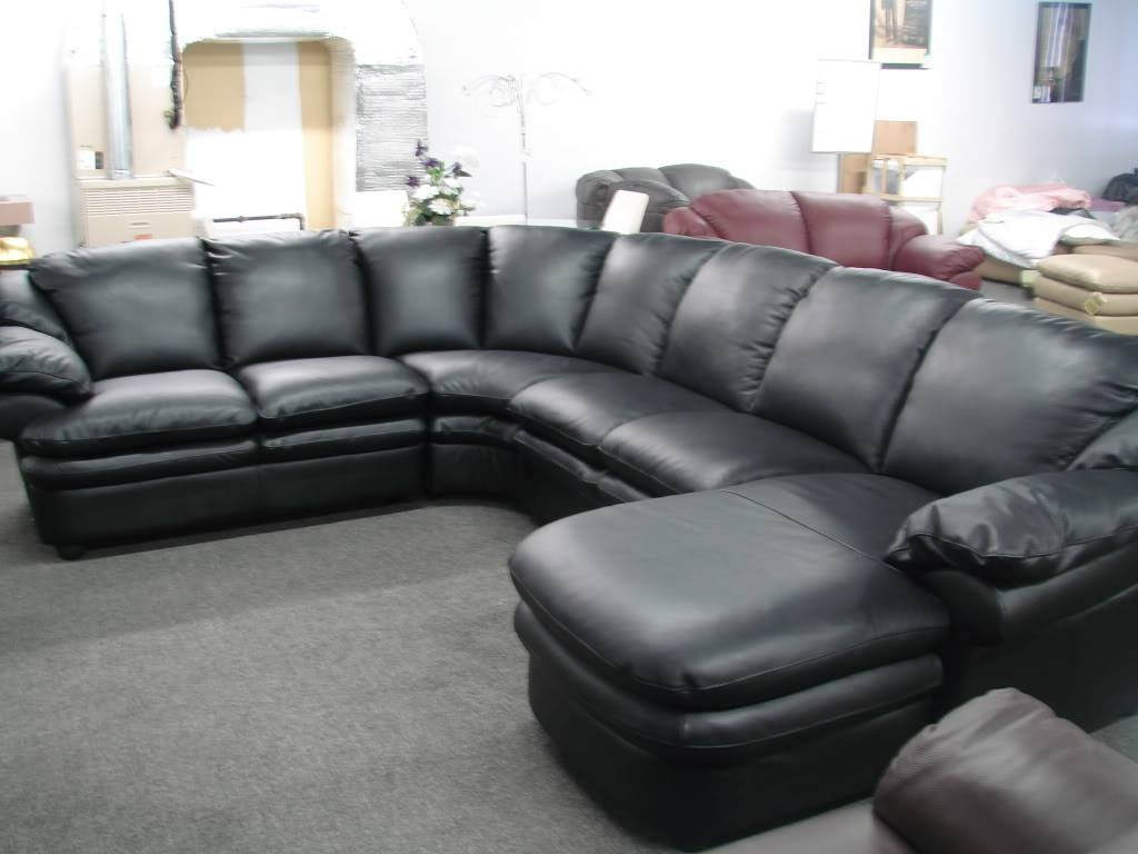 Alpine Sectional Sofa In Beige Brown Fabric Right Chaise with Black Leather Sectional Sleeper Sofas (Image 1 of 30)