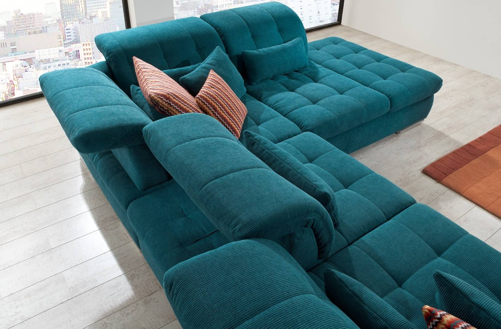 Alpine Sectional Sofa In Green Fabric with regard to Green Sectional Sofa (Image 6 of 30)