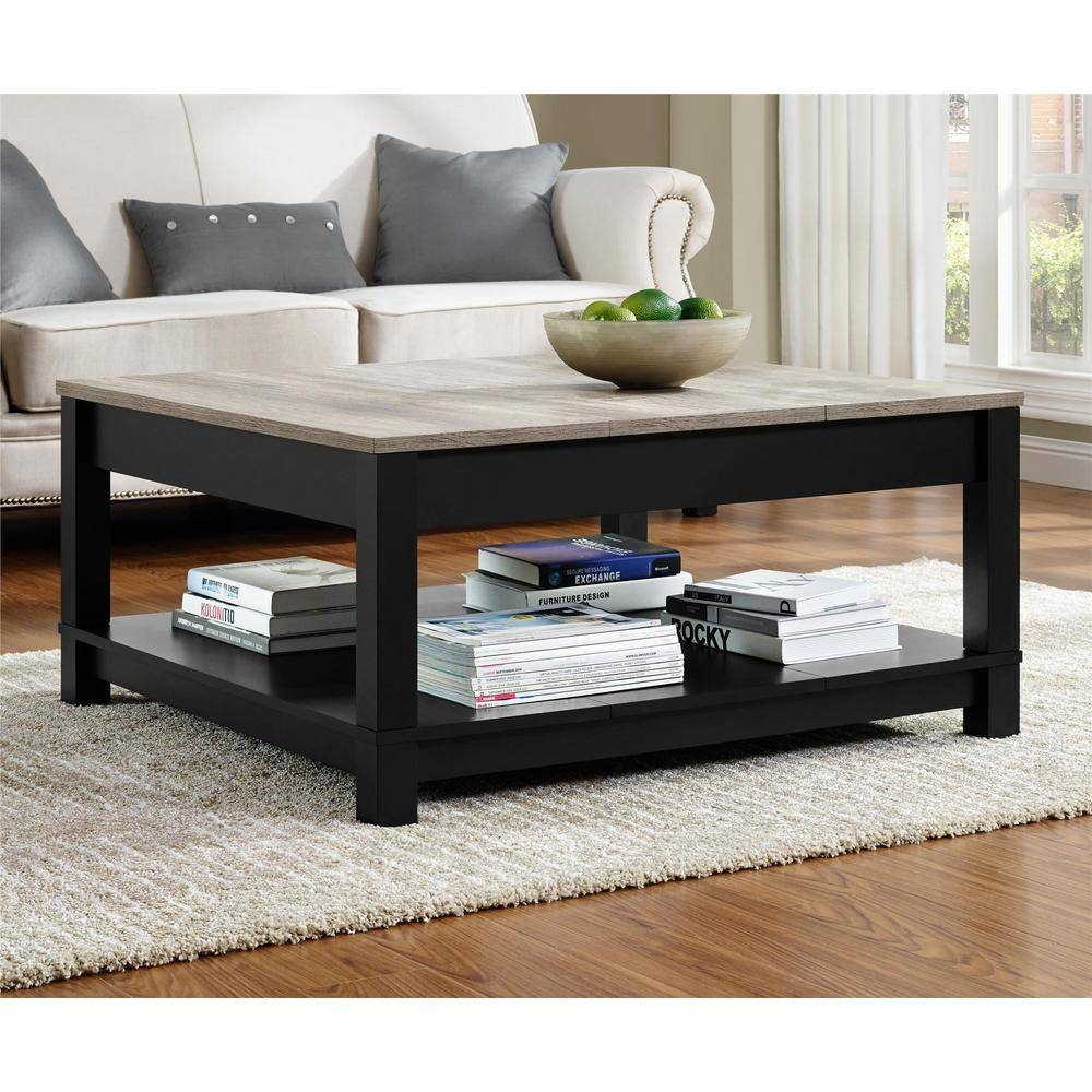 Altra Furniture Carver Matte Black Storage Coffee Table inside Storage Coffee Tables (Image 5 of 30)