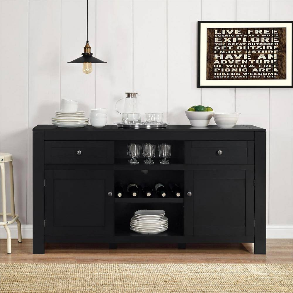 Altra Furniture Hadley Black Buffet With Wine Storage-1787096Pcom throughout Black And Silver Sideboards (Image 2 of 30)