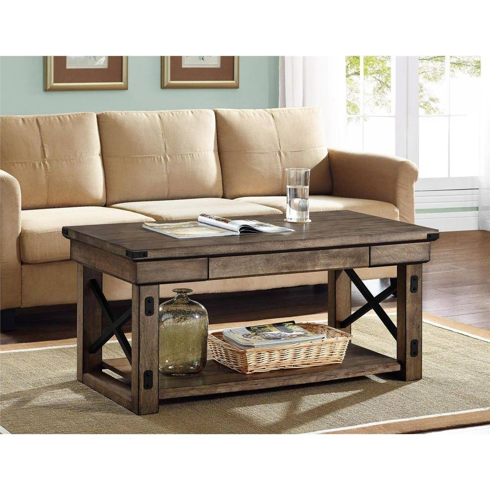 Altra Furniture Wildwood Rustic Gray Coffee Table-5056096Pcom in Gray Wood Coffee Tables (Image 1 of 30)