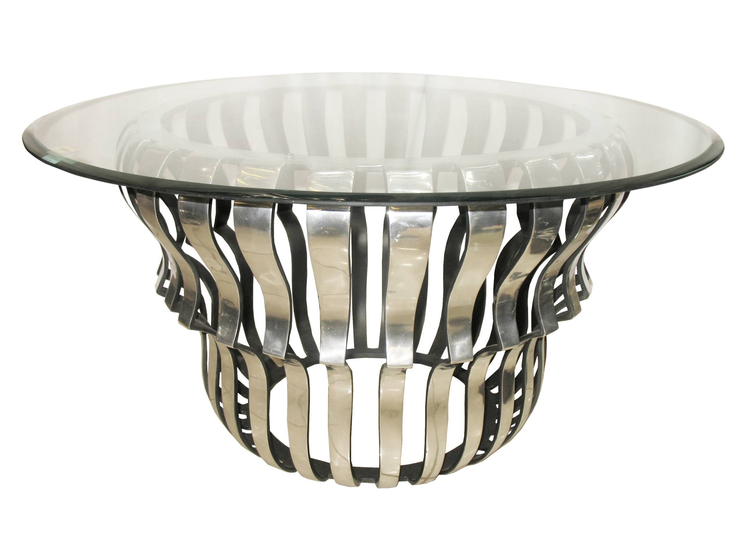Aluminium & Glass Round Coffee Table | Wowpieces regarding Aluminium Coffee Tables (Image 1 of 30)