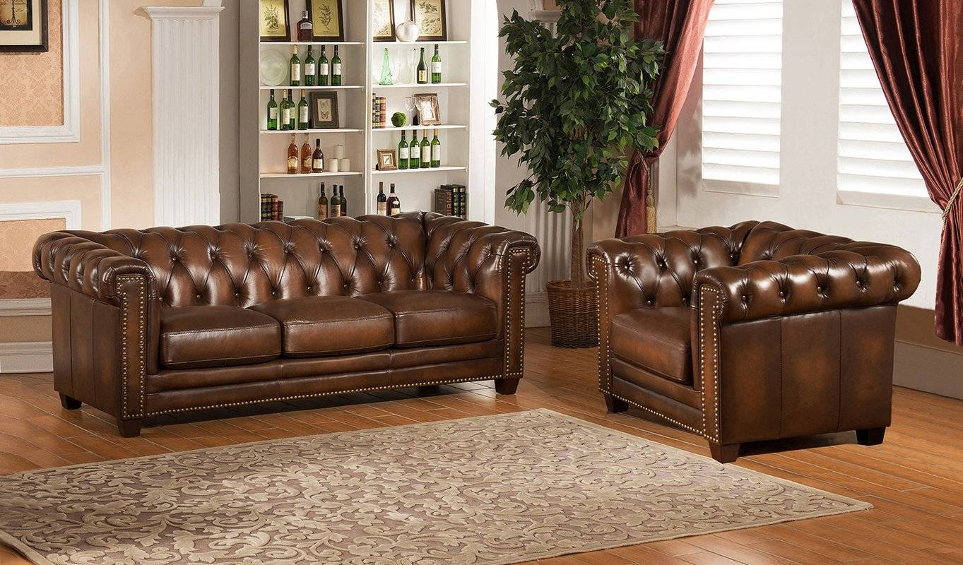 Amax Hickory Chesterfield Genuine Leather Sofa And Chair Set | Wayfair With Regard To Sofa And Chair Set (View 2 of 30)