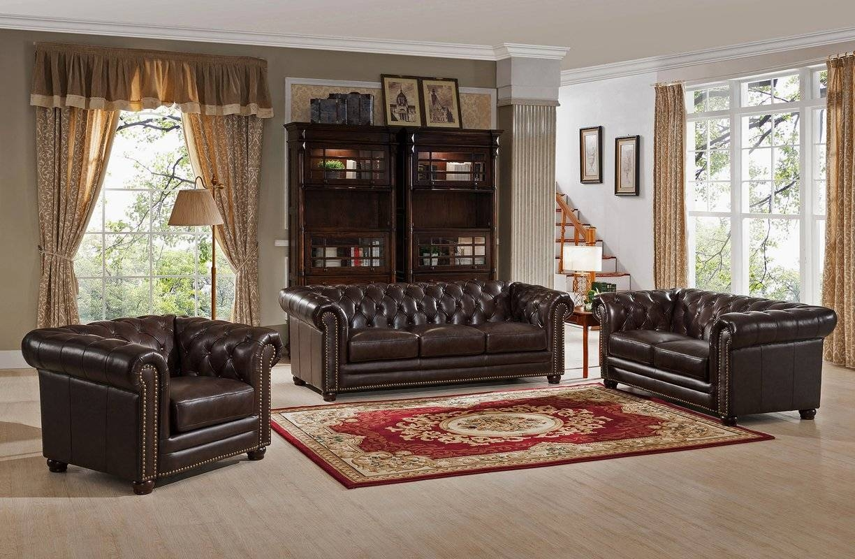 Amax Kensington Top Grain Leather Chesterfield Sofa, Loveseat, And For Sofa Loveseat And Chair Set (View 3 of 30)
