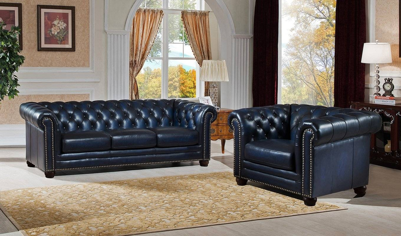 Amax Nebraska Chesterfield Genuine Leather Sofa And Chair Set for Sofa And Chair Set (Image 3 of 30)