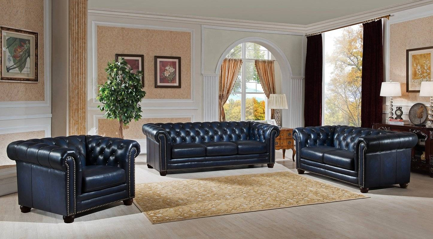 Amax Nebraska Chesterfield Genuine Leather Sofa, Loveseat And Intended For Sofa Loveseat And Chair Set (View 4 of 30)