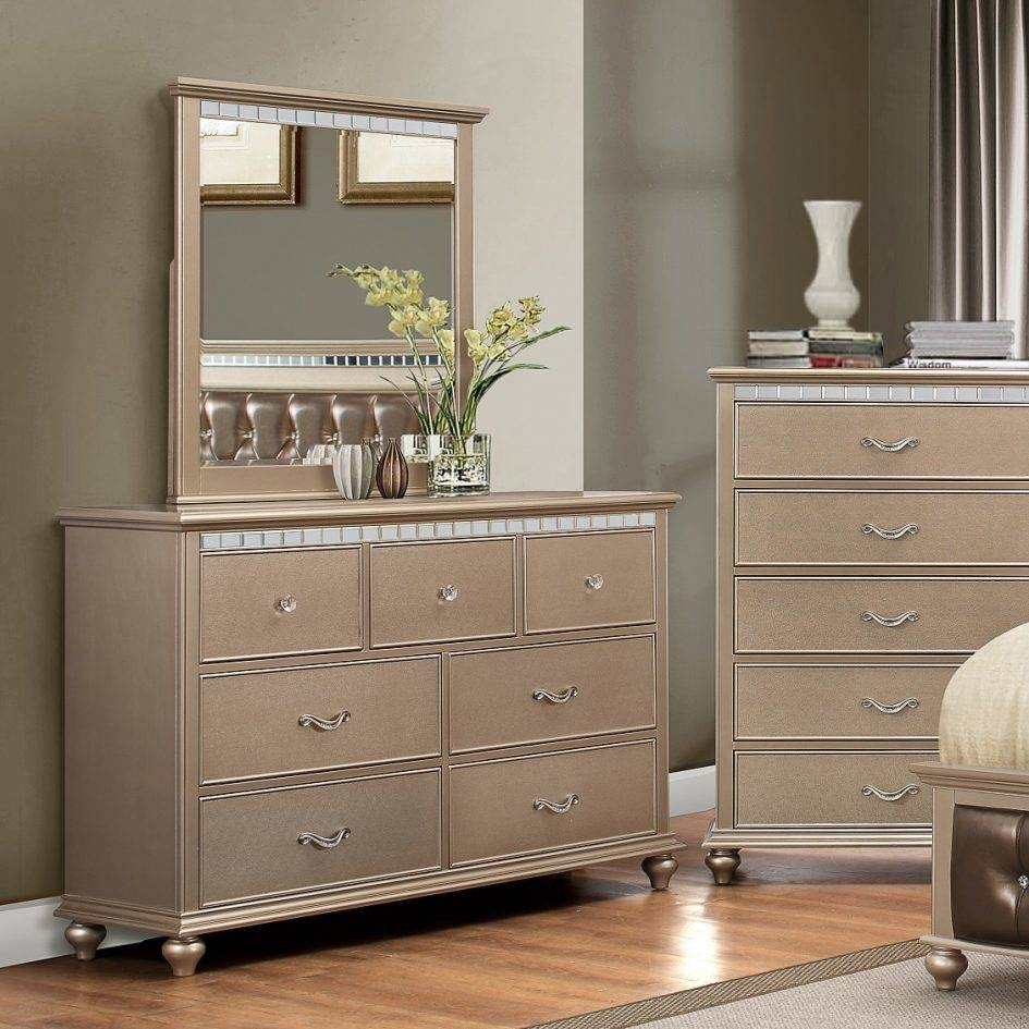 Amazing Dressers With Mirrors Mdf And Veneer Material Light Grey regarding Champagne Mirrors (Image 4 of 25)