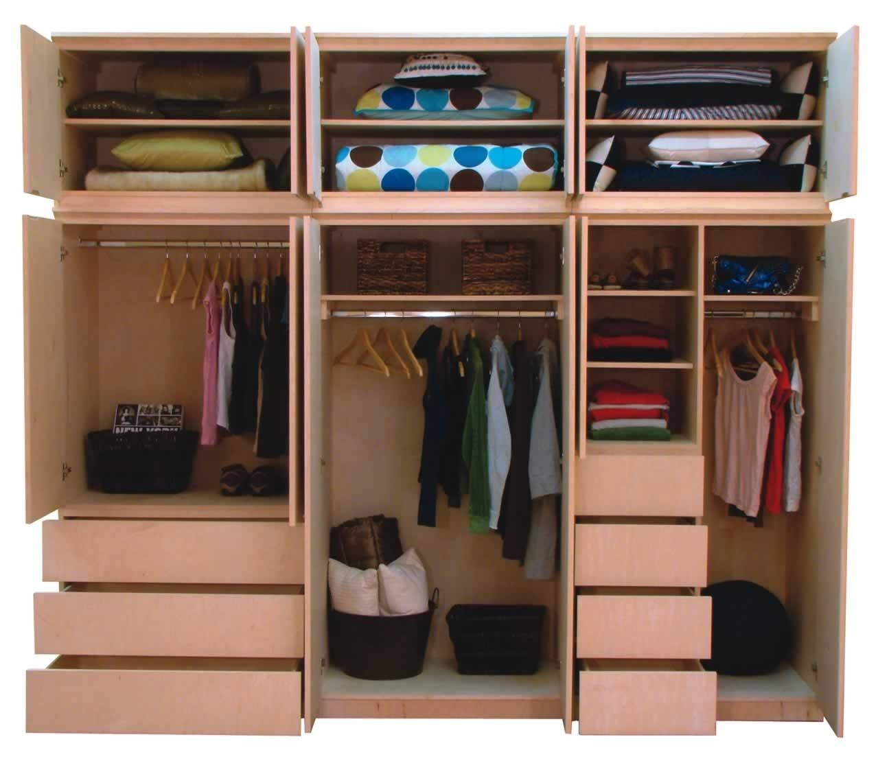 Amazing Mahogany Wood Wardrobe Design Inspiration With Double within Drawers And Shelves For Wardrobes (Image 4 of 30)