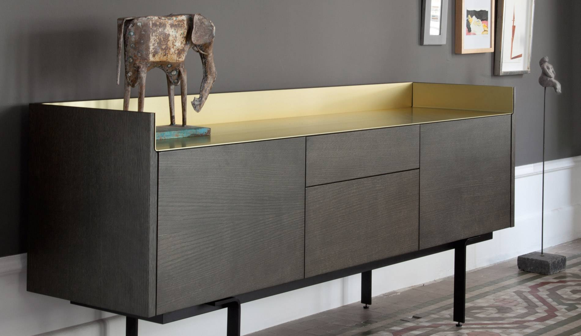 Amazing Xelo Light Grey Oak Sideboard Design Featuring Glass Store intended for Dark Grey Sideboards (Image 3 of 30)