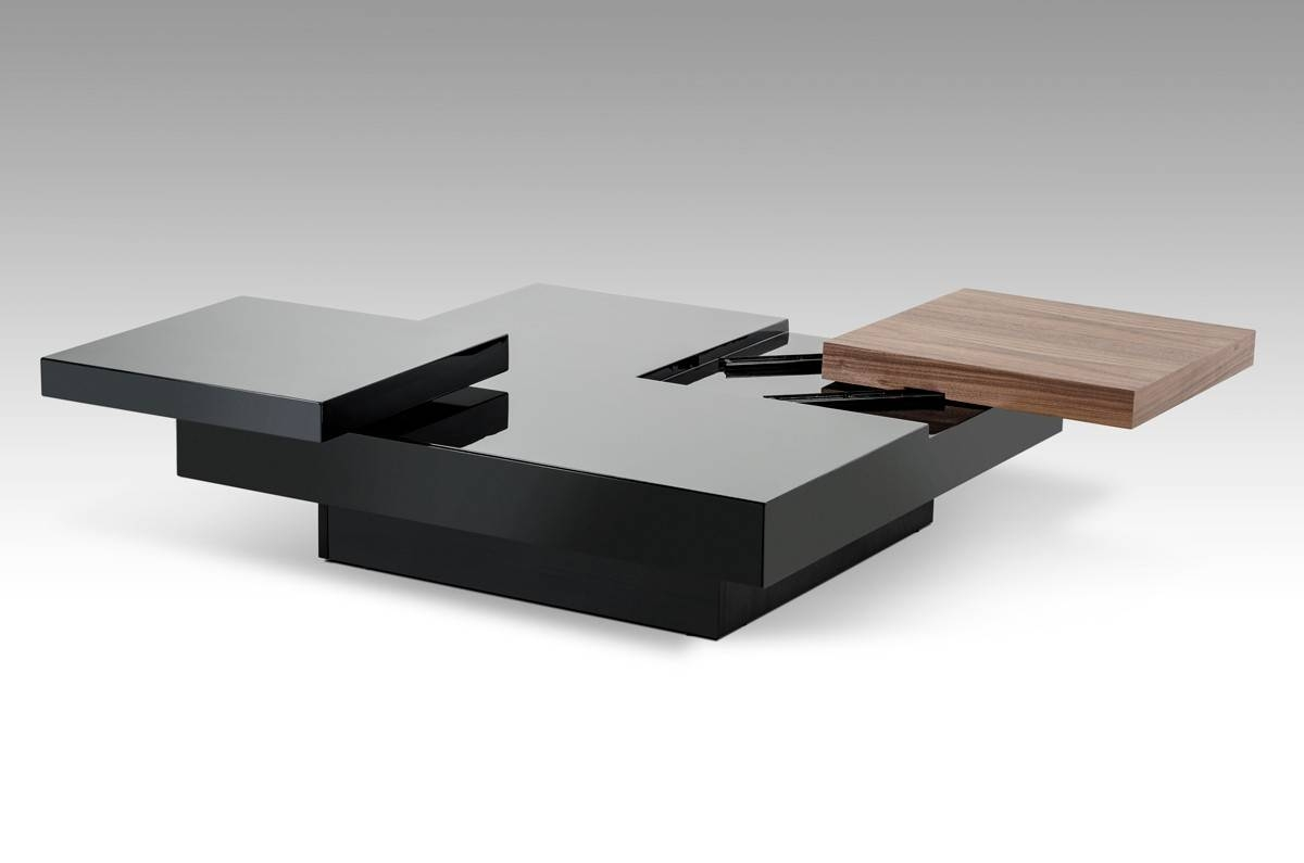 Ambry Modern Walnut And Black Coffee Table - Coffee Tables within Square Black Coffee Tables (Image 1 of 30)