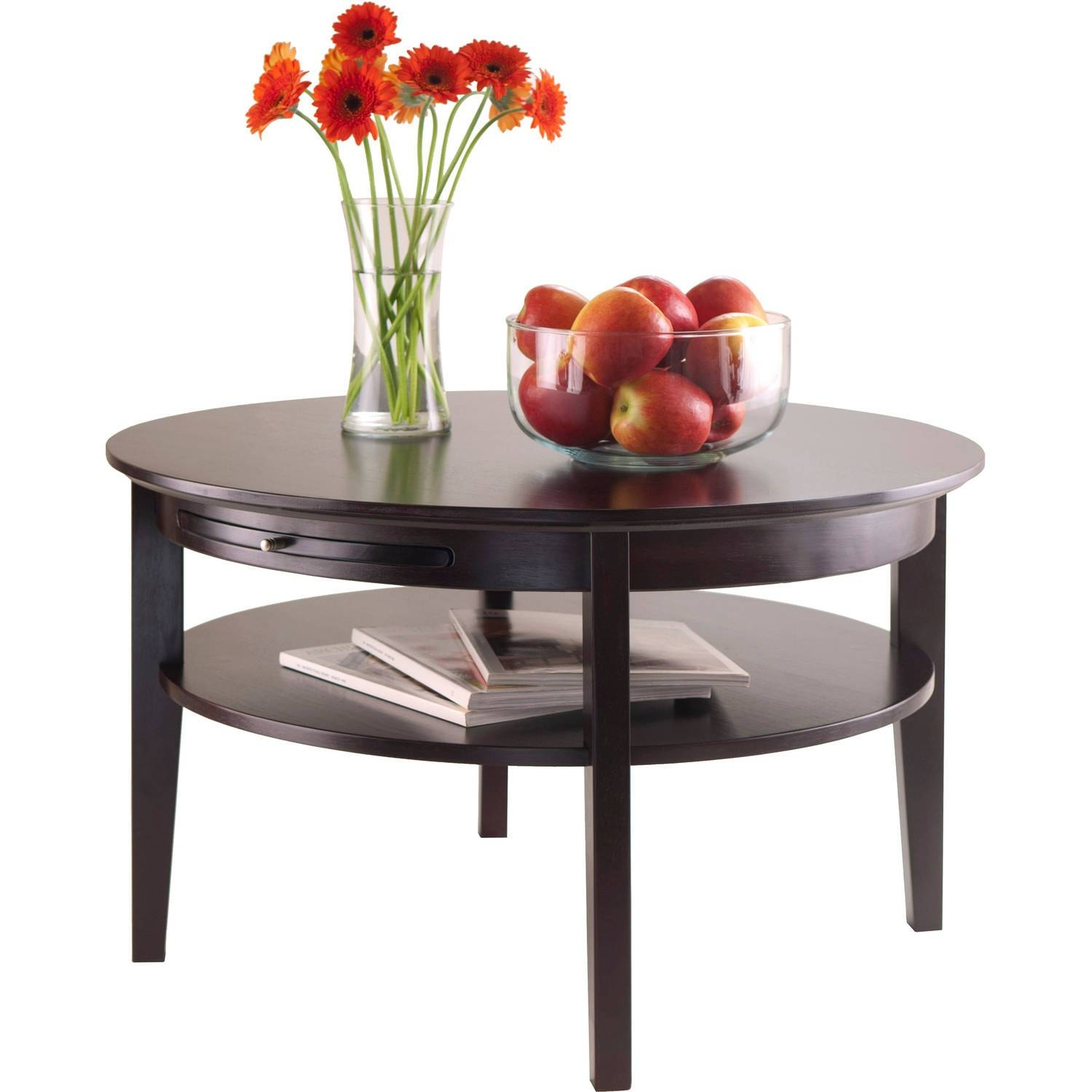 Amelia Round Coffee Table With Pull-Out Tray, Espresso - Walmart throughout Round Tray Coffee Tables (Image 1 of 30)