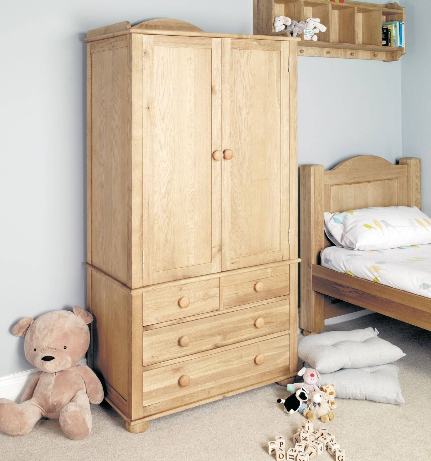 Amelie Oak Childrens Double Wardrobe | Hallowood regarding Childrens Double Rail Wardrobes (Image 2 of 30)