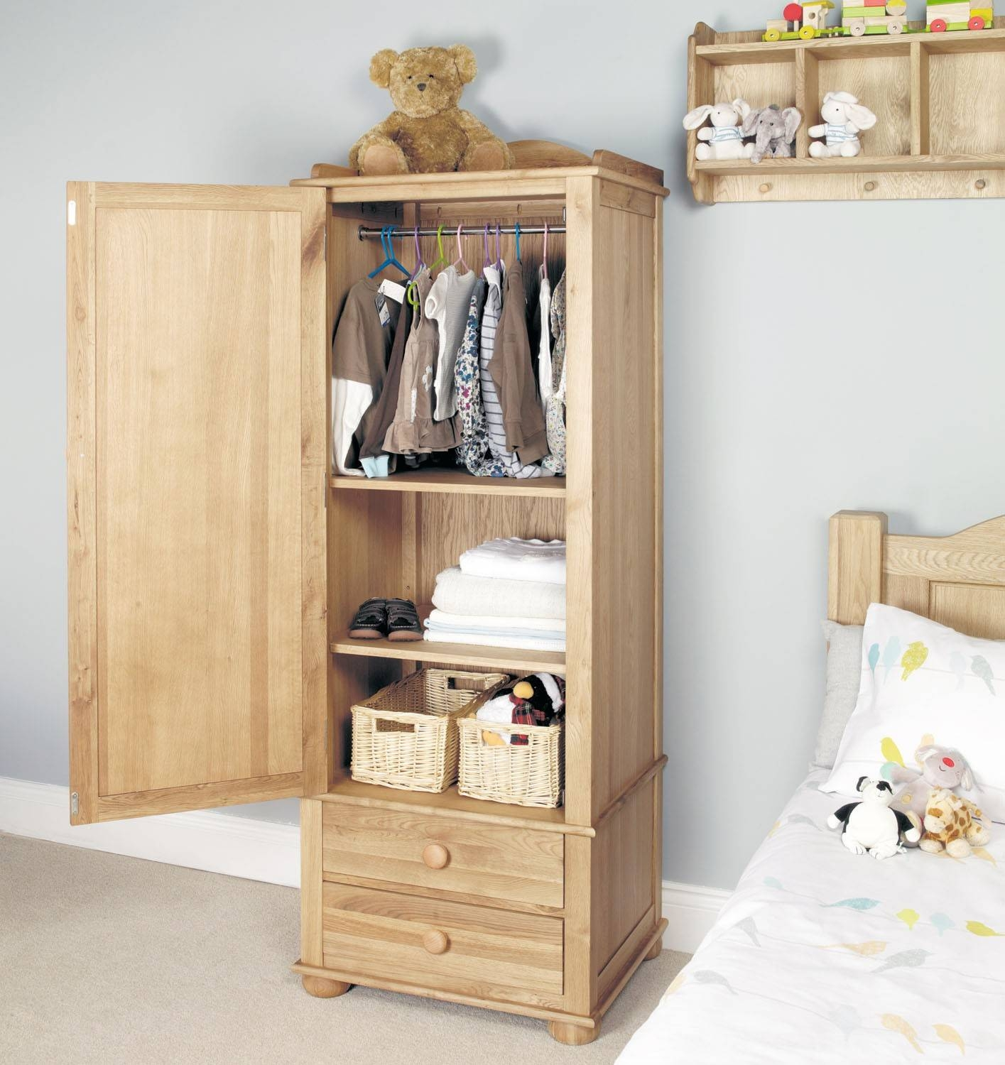 Amelie Oak Childrens Single Wardrobe - Amelie Oak Children's in Single Oak Wardrobes With Drawers (Image 1 of 15)