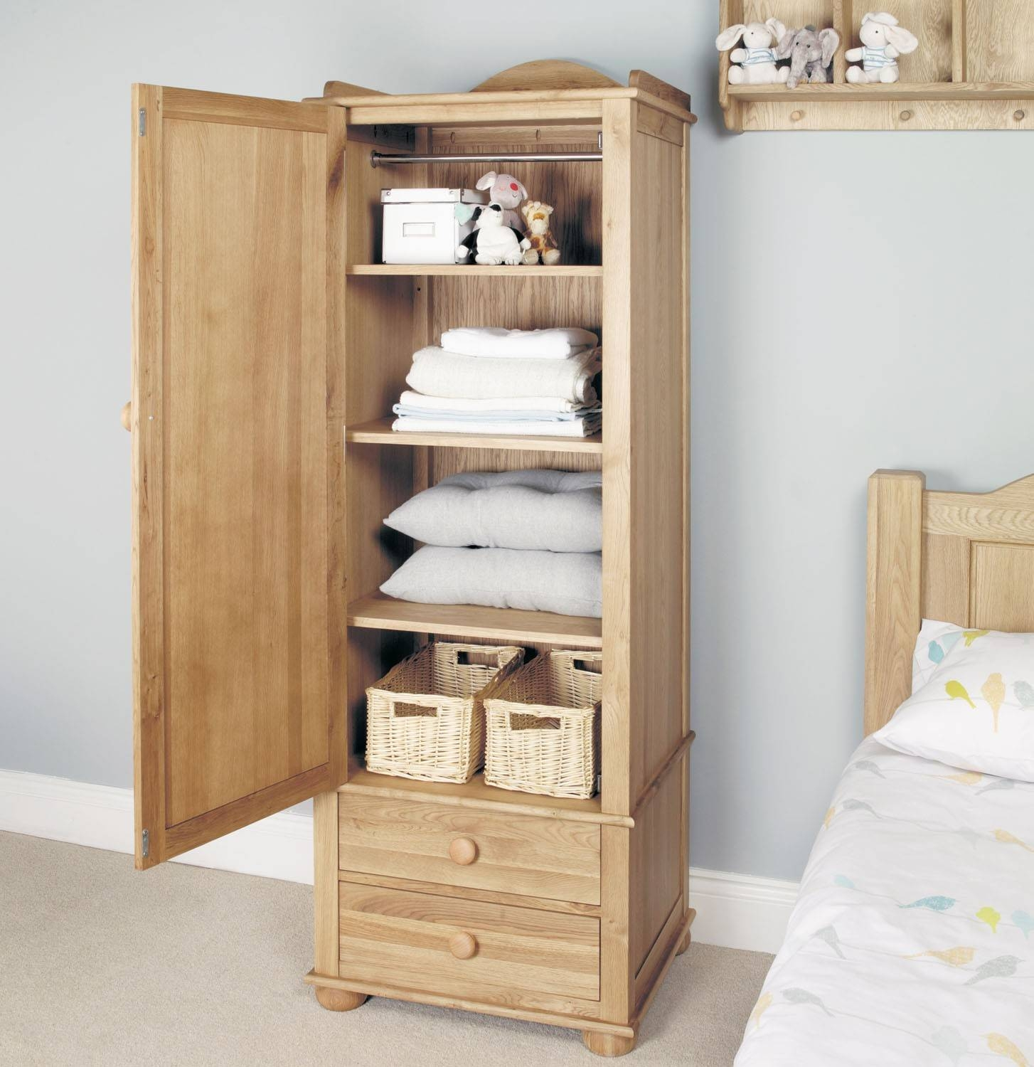 Amelie Oak Childrens Single Wardrobe - Amelie Oak Children's within Single Oak Wardrobes With Drawers (Image 2 of 15)