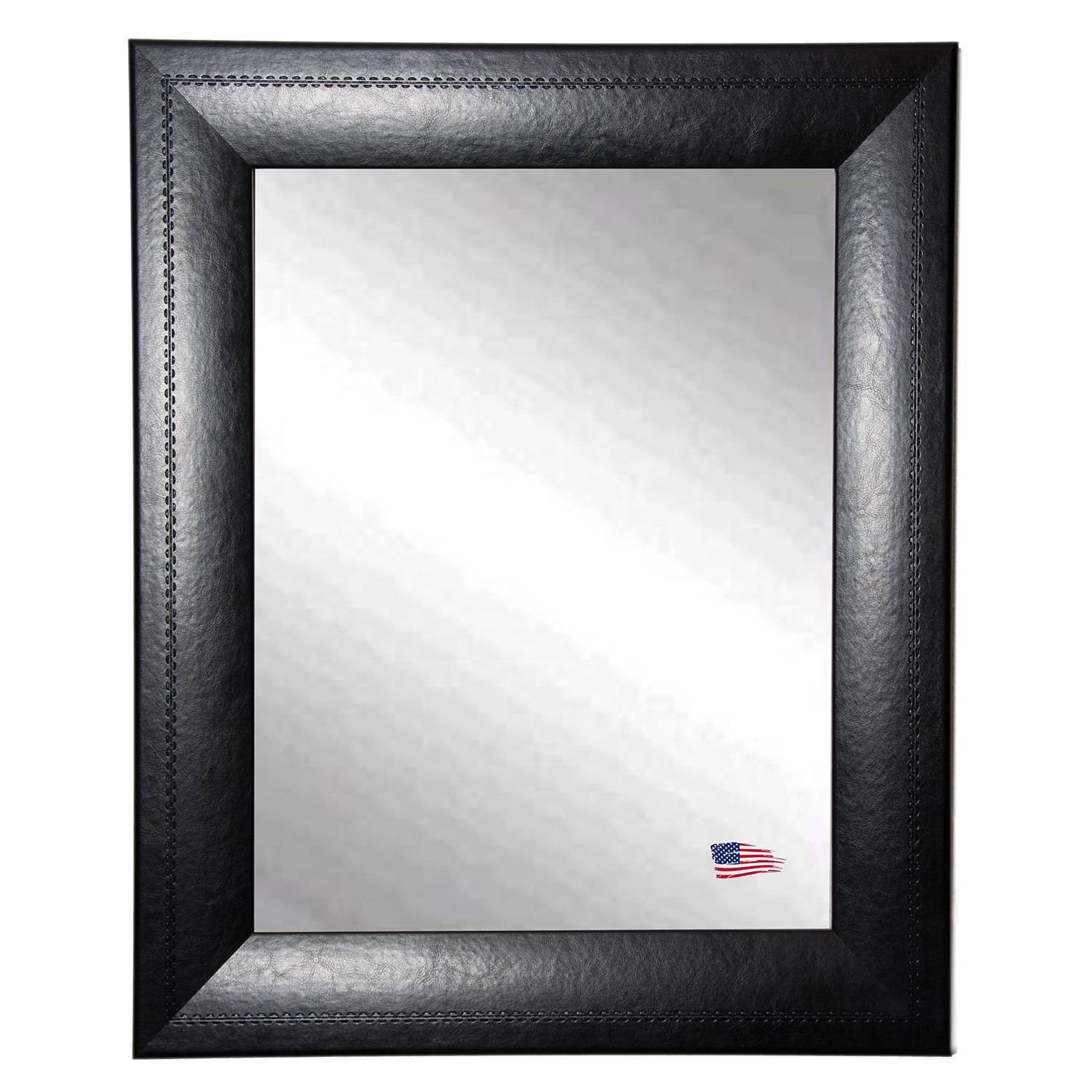 American Made Rayne Luxurious Black Leather Wall Mirror | Ebay In Leather Wall Mirrors (View 10 of 25)