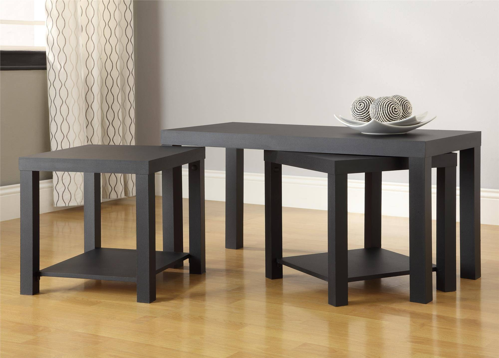 Ameriwood Furniture | Holly Bay Coffee Table And End Table Set, Black within 2 Piece Coffee Table Sets (Image 3 of 30)