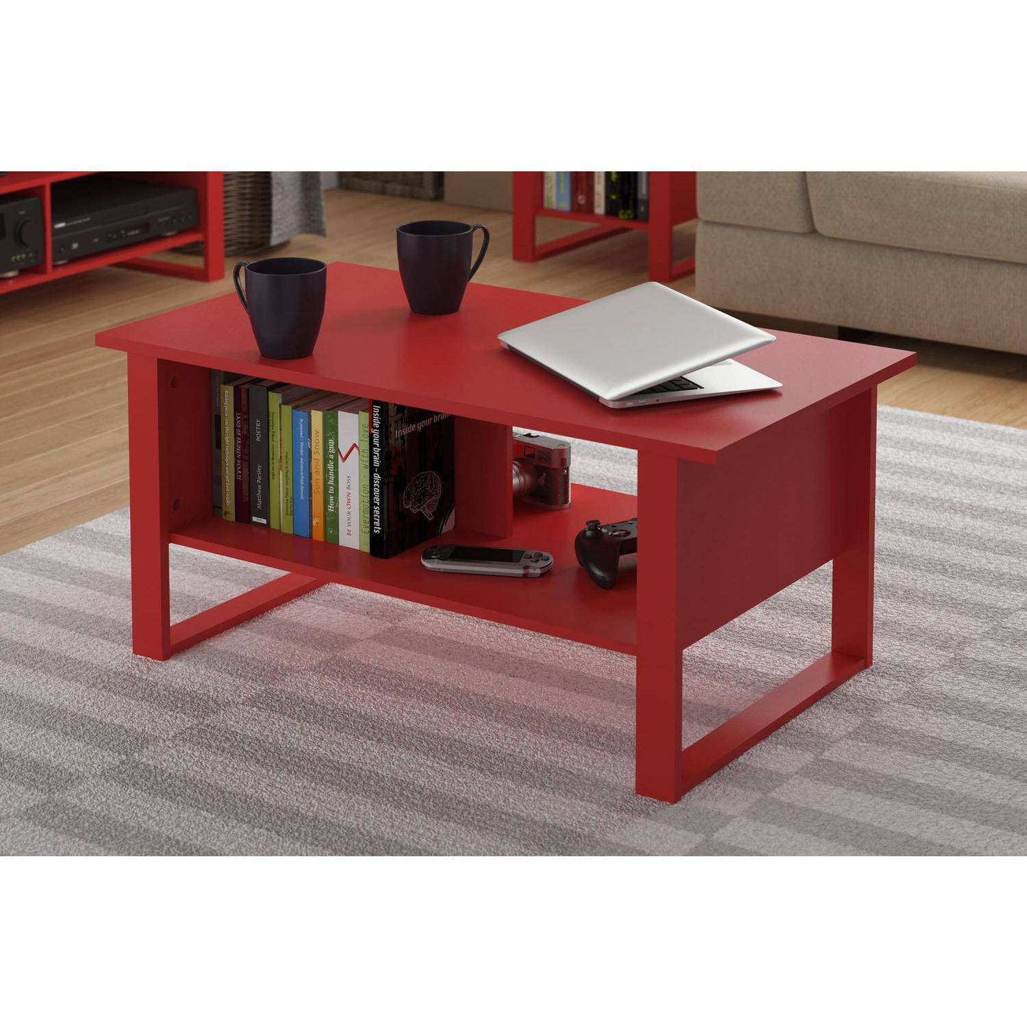 Ameriwood Home Carson Coffee Table, Espresso/silver - Walmart for Rustic Coffee Tables With Bottom Shelf (Image 3 of 30)