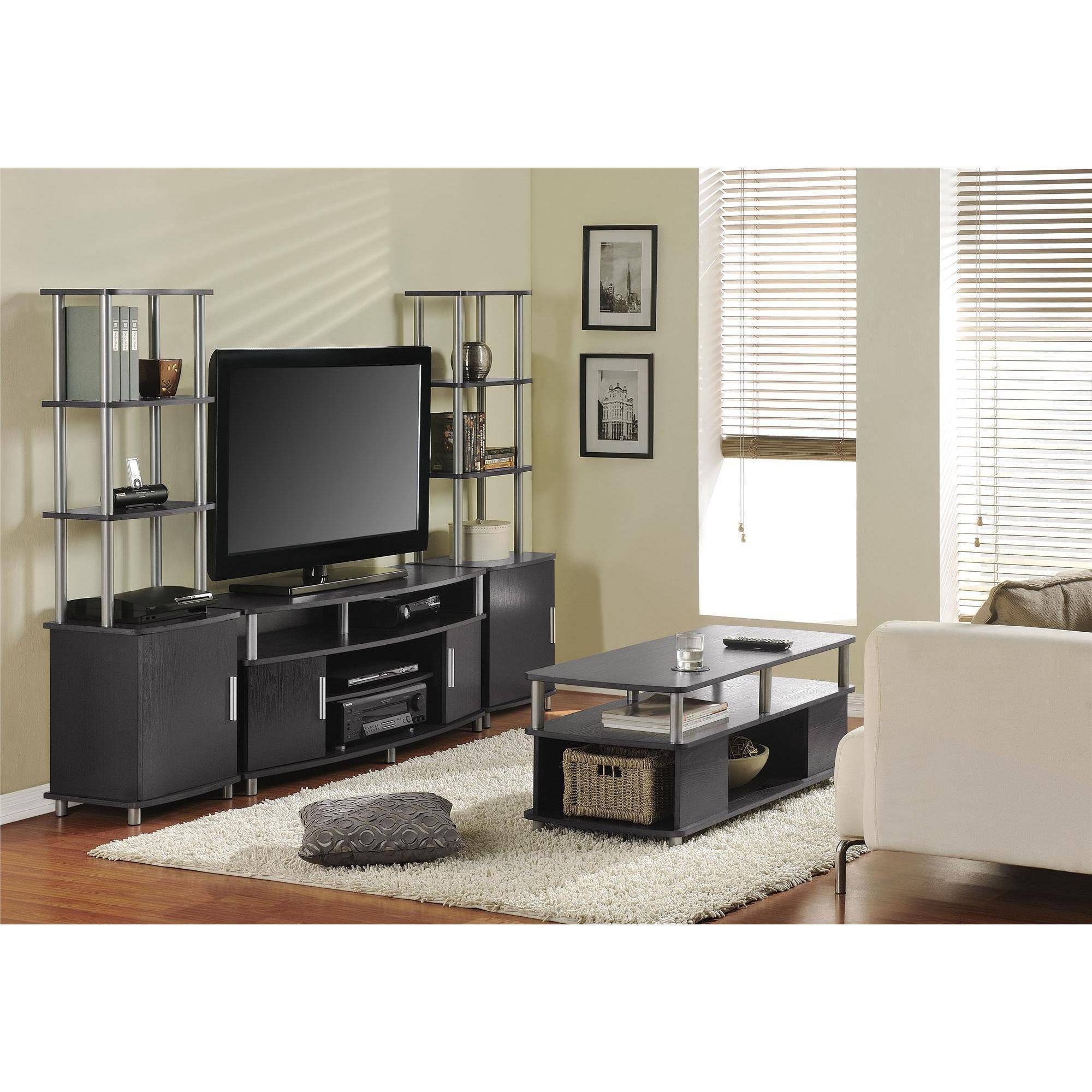 Ameriwood Home Carson Coffee Table, Espresso/silver - Walmart regarding Coffee Tables and Tv Stands Matching (Image 3 of 30)