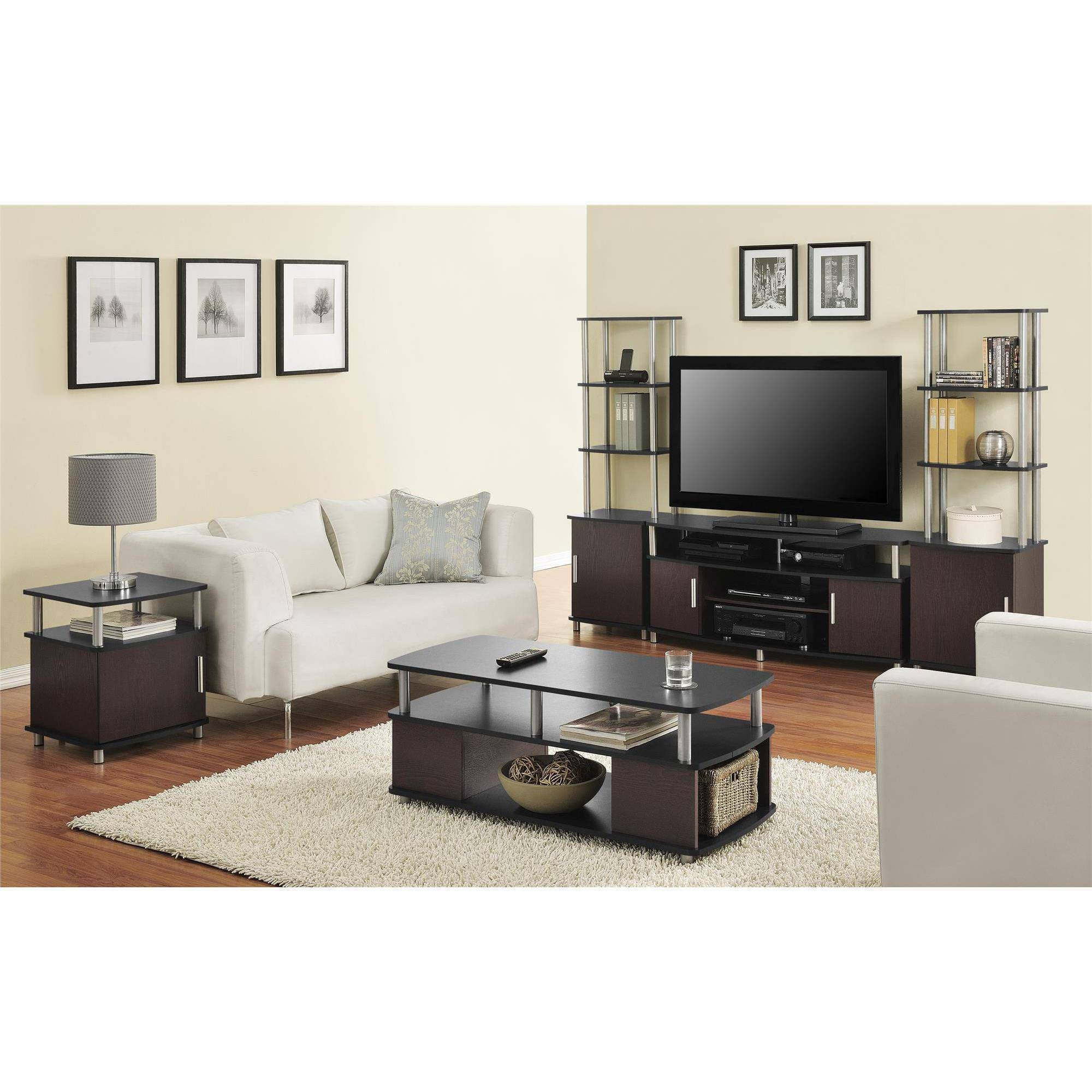 Ameriwood Home Carson Coffee Table, Espresso/silver - Walmart within Tv Stand Coffee Table Sets (Image 2 of 30)