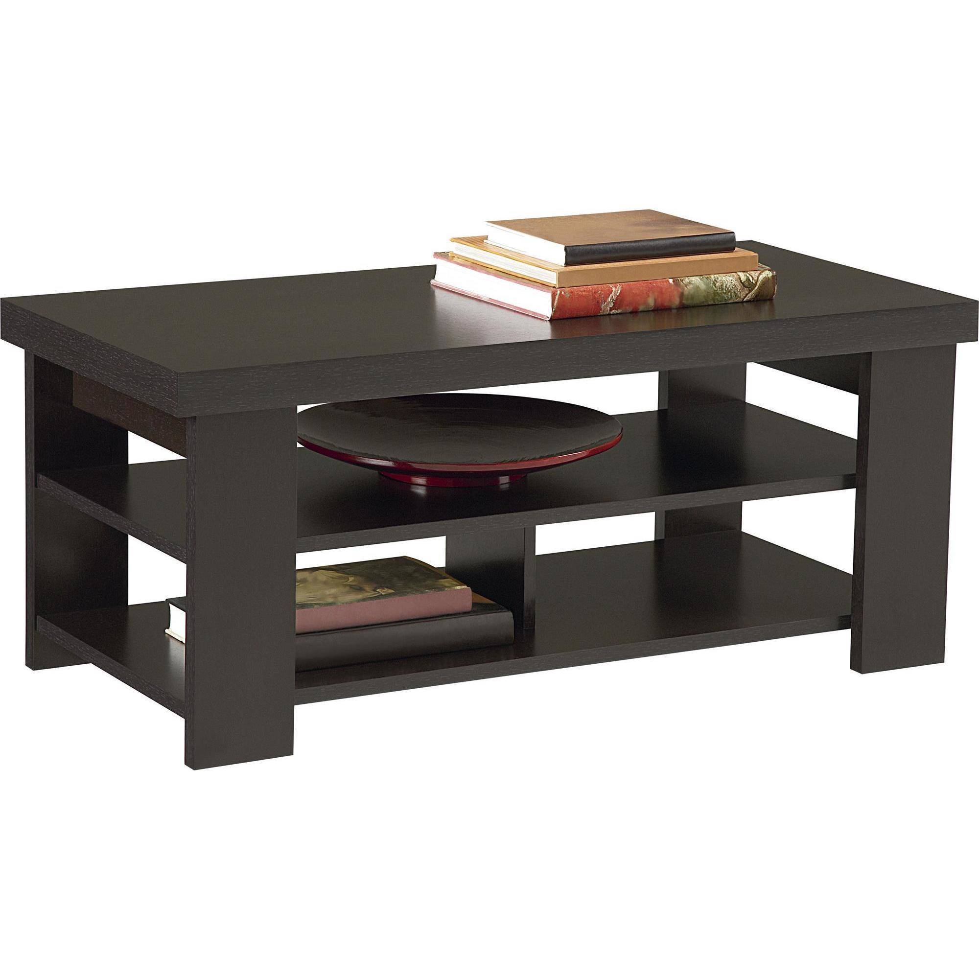 Ameriwood Home Jensen Coffee Table, Espresso – Walmart Pertaining To Small Coffee Tables With Shelf (View 1 of 30)