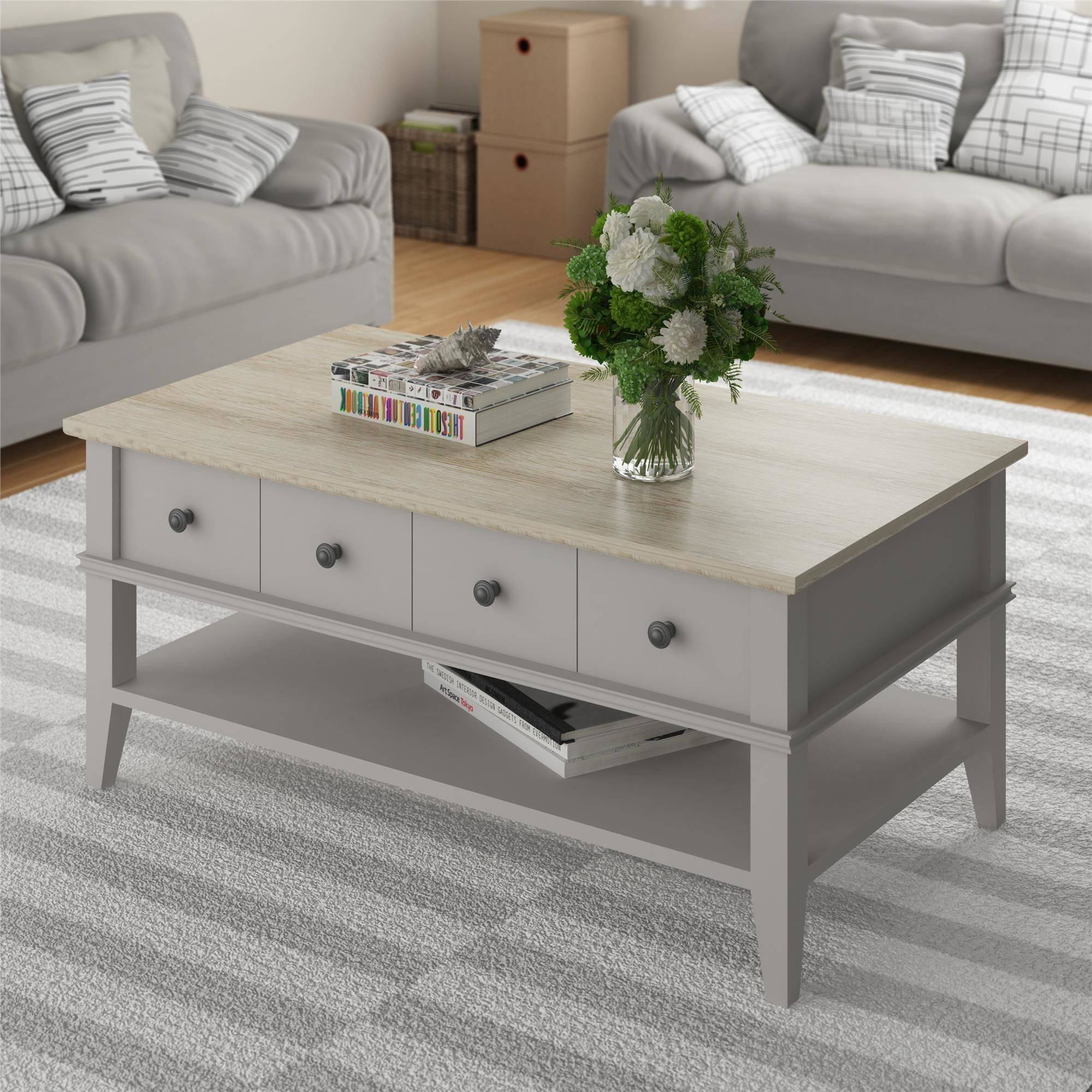 Ameriwood Home Newport Coffee Table, Light Gray/light Brown in Grey Coffee Tables (Image 3 of 30)