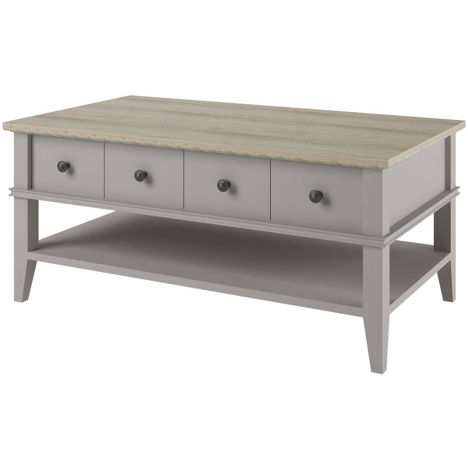 Ameriwood Home Newport Coffee Table, Light Gray/light Brown pertaining to Grey Coffee Tables (Image 4 of 30)
