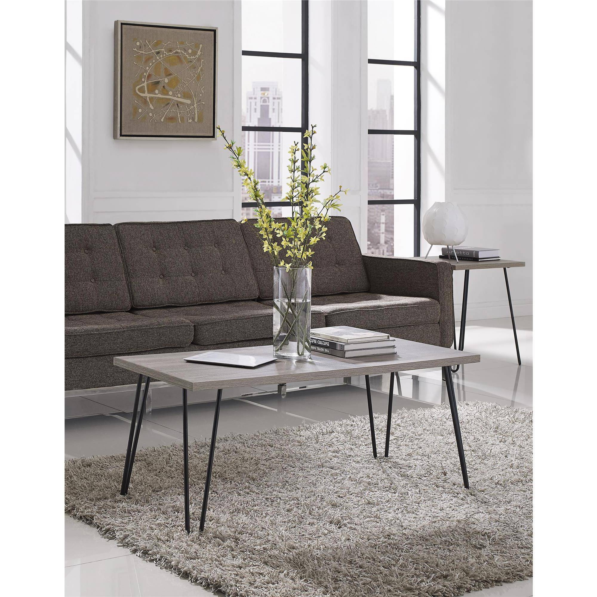 Ameriwood Home Owen Retro Coffee Table, Distressed Gray Oak inside White And Oak Coffee Tables (Image 1 of 30)