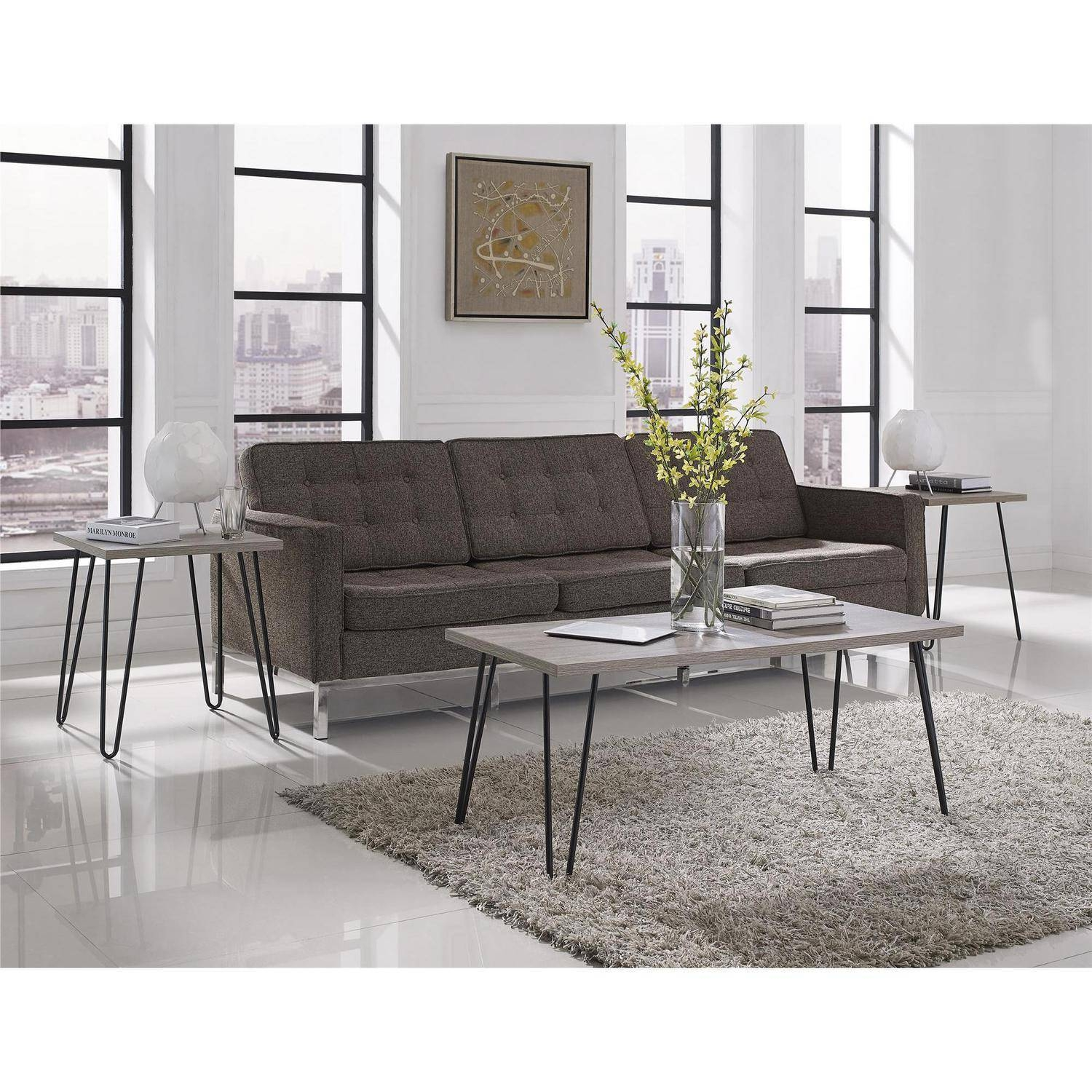 Ameriwood Home Owen Retro Coffee Table, Distressed Gray Oak throughout Grey Coffee Table Sets (Image 1 of 30)