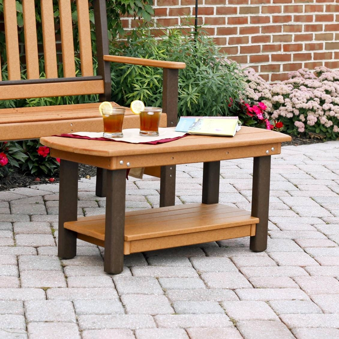 Amish Poly Wood Garden Coffee Table – Leisure Lawns Collection For Wooden Garden Coffee Tables (Image 3 of 30)