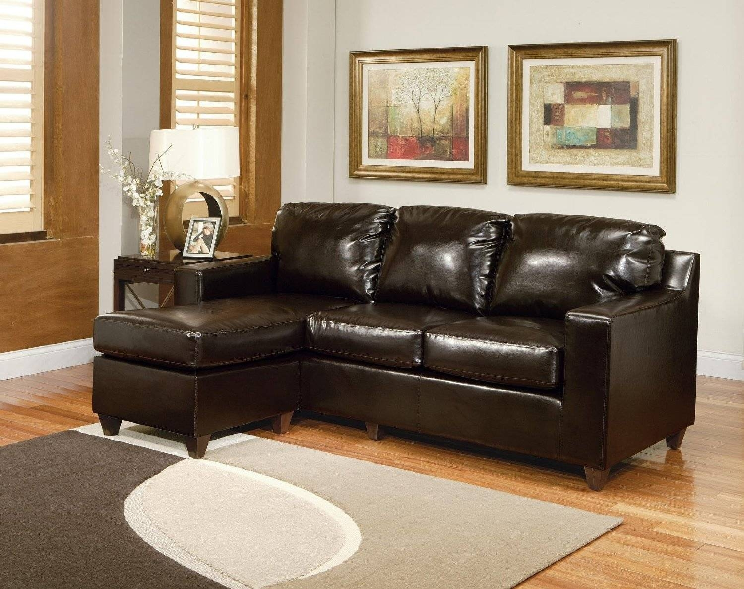 Amusing Sofa Sectionals For Small Spaces 41 With Additional inside Contemporary Black Leather Sectional Sofa Left Side Chaise (Image 2 of 30)