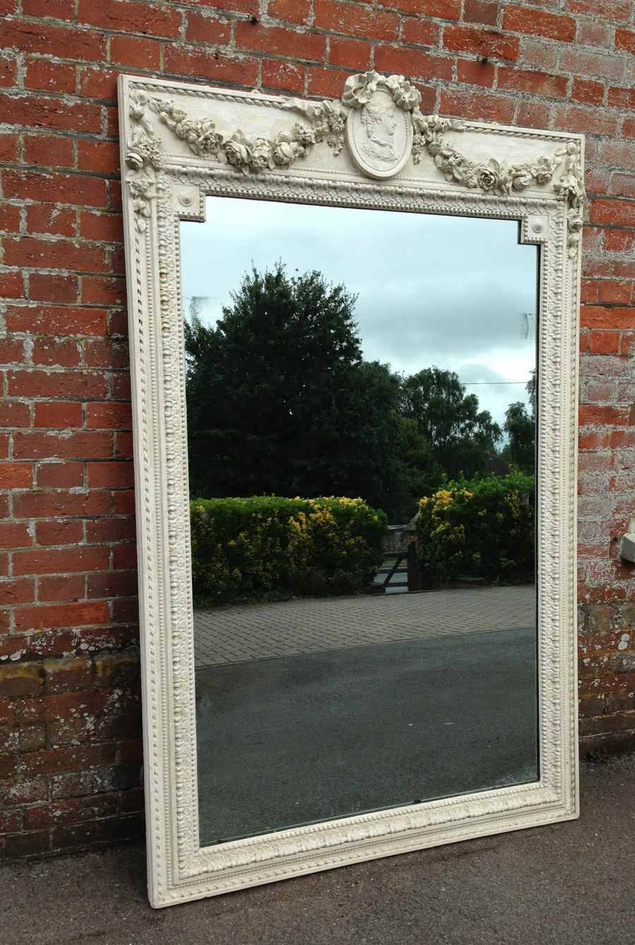 An Absolutely Stunning Large Original Distressed Cream And White in Cream Antique Mirrors (Image 9 of 25)