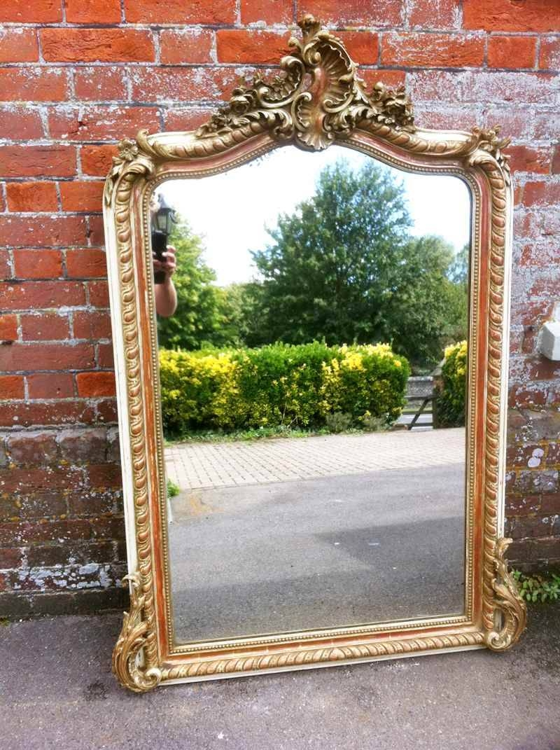 An Early Antique French Cream And Gilt Ornate Framed Mirror in Gilt Edged Mirrors (Image 4 of 25)