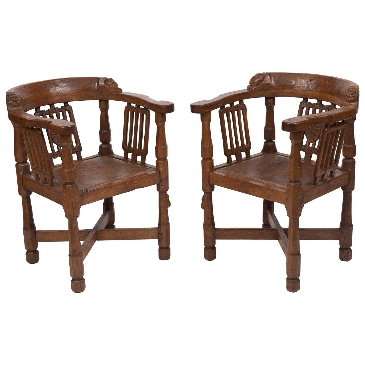 "An Early Pair Of Robert ""Mouseman"" Thompson Oak Monk's Chair (C with Monk Chairs (Image 3 of 30)"