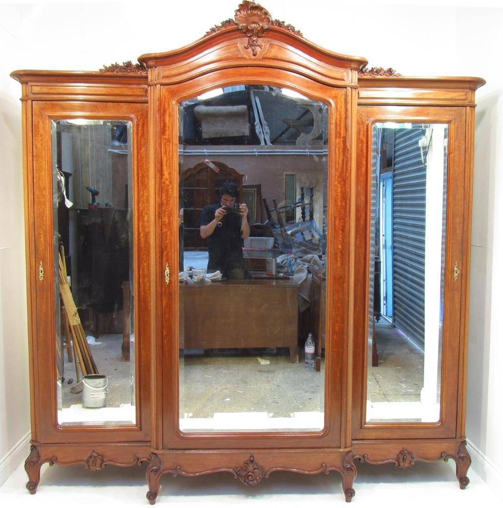 An Exceptional Large French Antique Mahogany Breakfront Wardrobe regarding Antique Breakfront Wardrobe (Image 1 of 30)