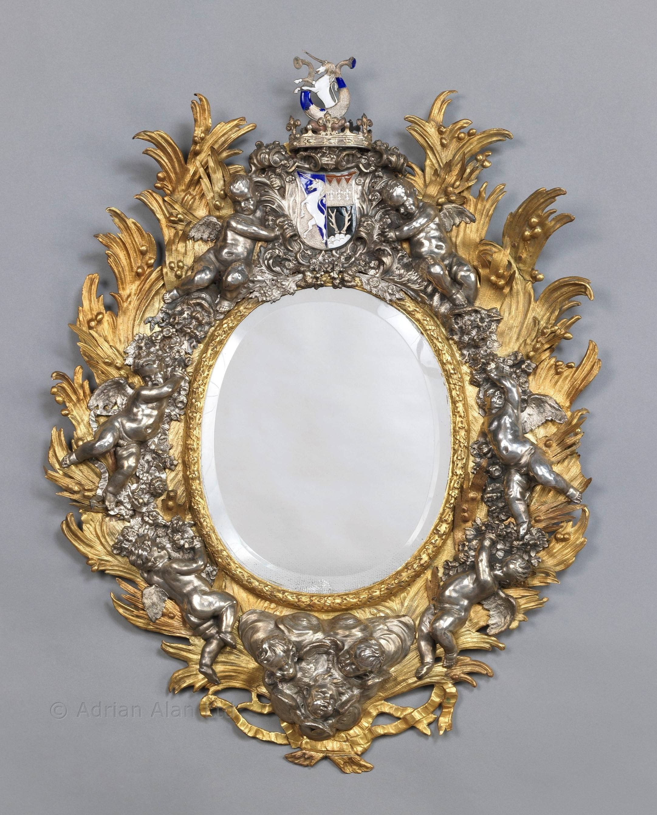 An Important Baroque Style Silvered And Gilt-Bronze Cherub Mirror for Baroque Style Mirrors (Image 1 of 25)