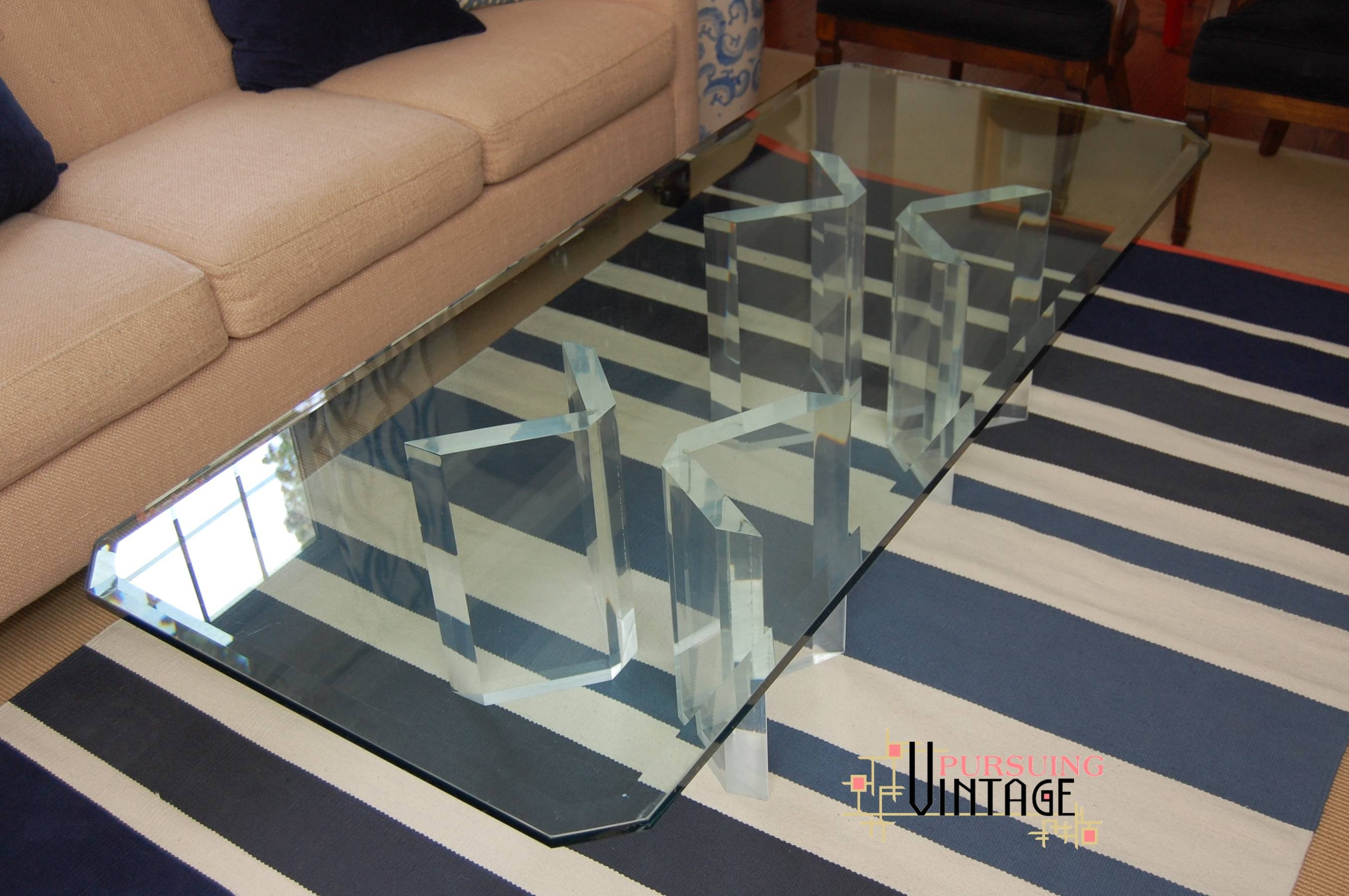 An Original Vintage Lucite And Glass Coffee Table inside Vintage Glass Top Coffee Tables (Image 1 of 30)