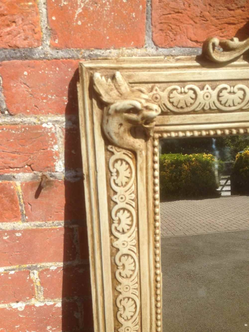 An Unusual Large Antique 19Th Century French Carved Wood & Gesso with Unusual Large Mirrors (Image 8 of 25)