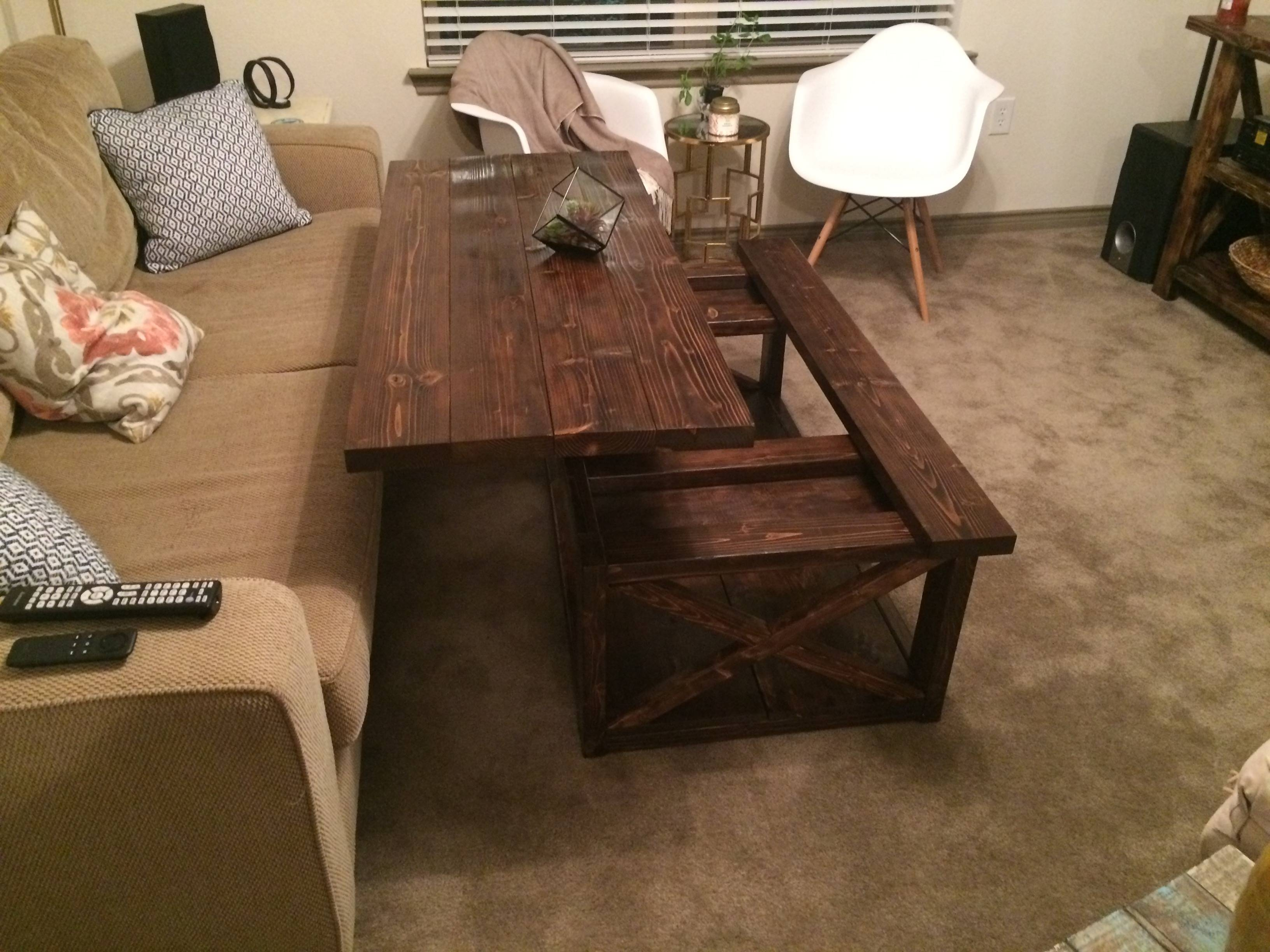 Ana White | Diy Lift Top Coffee Table – Rustic X Style – Diy Projects For Lift Coffee Tables (View 11 of 30)