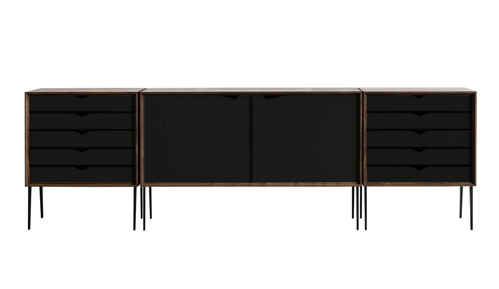 Andersen S2 Walnut / Black Sideboard | Dopo Domani intended for Black And Walnut Sideboards (Image 2 of 30)