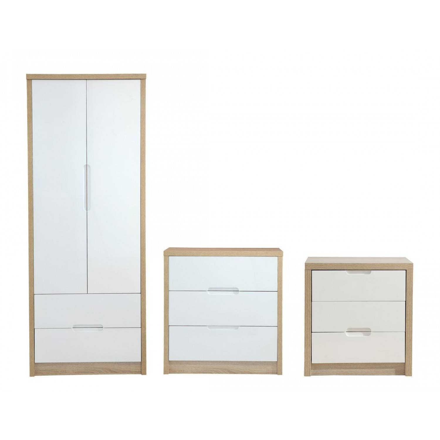 Andover High Gloss Front Bedroom Trio Set - Two Door Two Drawer with regard to Cheap Wardrobes And Chest Of Drawers (Image 1 of 15)
