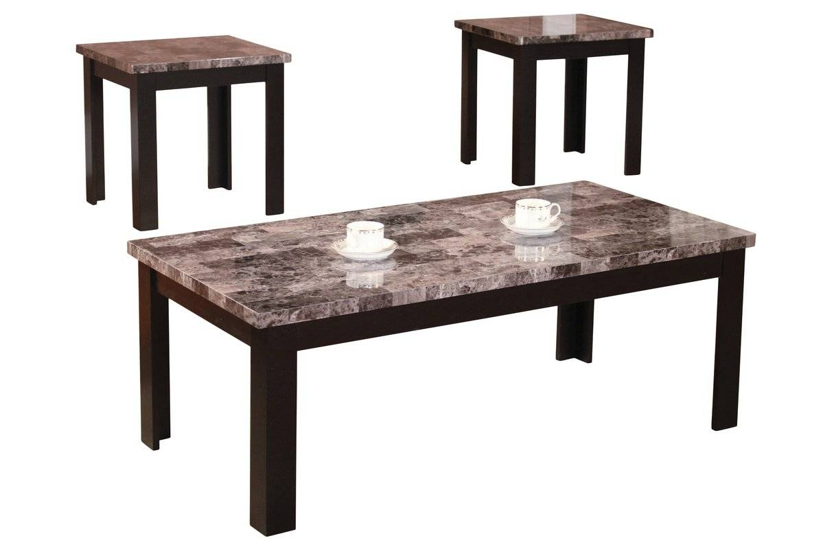 Andover Mills Cecil Marble Top 3 Piece Coffee Table Set & Reviews throughout Coffee Table With Chairs (Image 5 of 30)