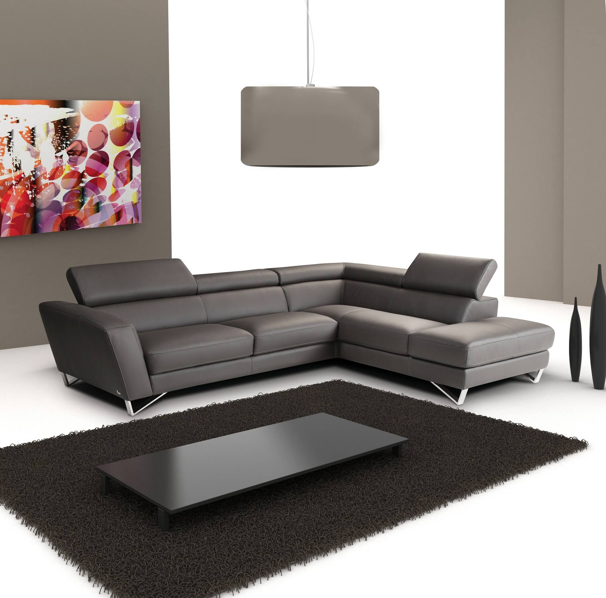 Angel Italian Leather Modern Sectional Sofa - S3Net - Sectional in Sleek Sectional Sofa (Image 2 of 25)