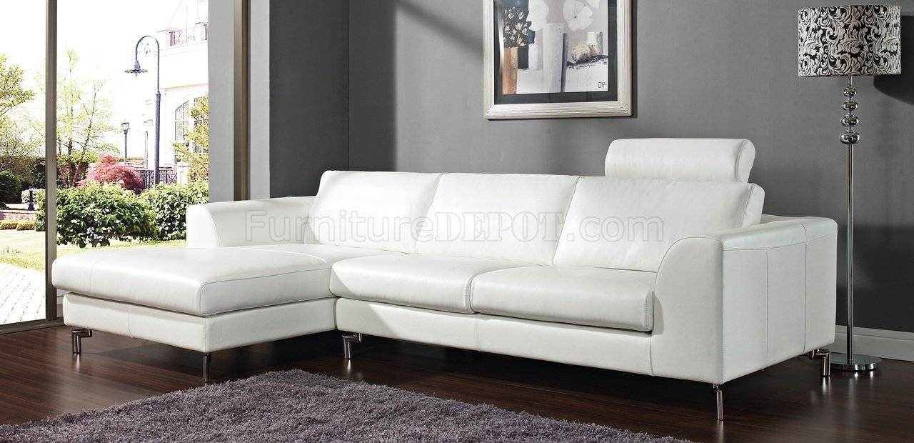 Angela Sectional Sofa In White Leatherwhiteline for White Sectional Sofa for Sale (Image 3 of 30)