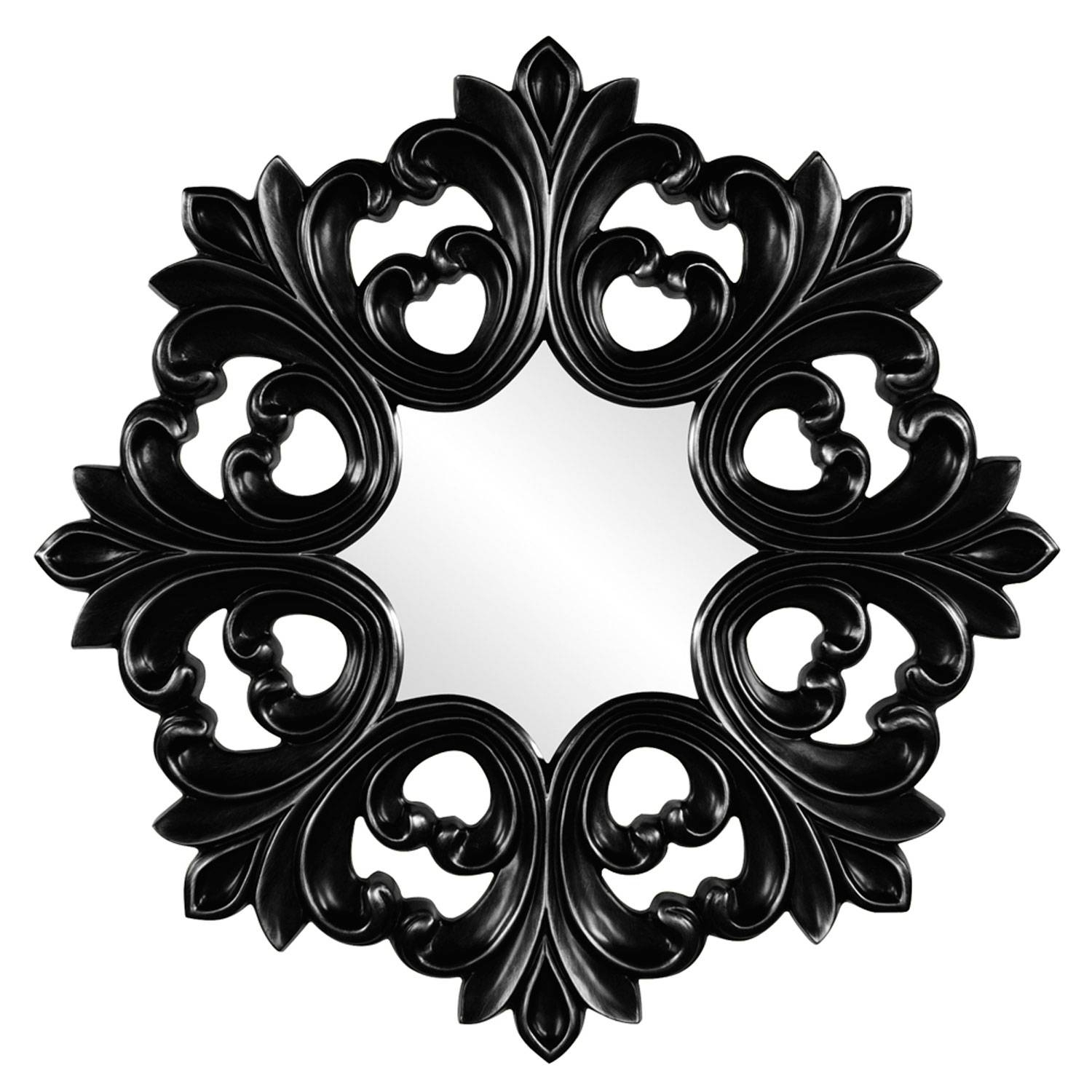 Annabelle Black Round Baroque Mirror Howard Elliott Collection Throughout Black Baroque Mirrors (View 4 of 25)
