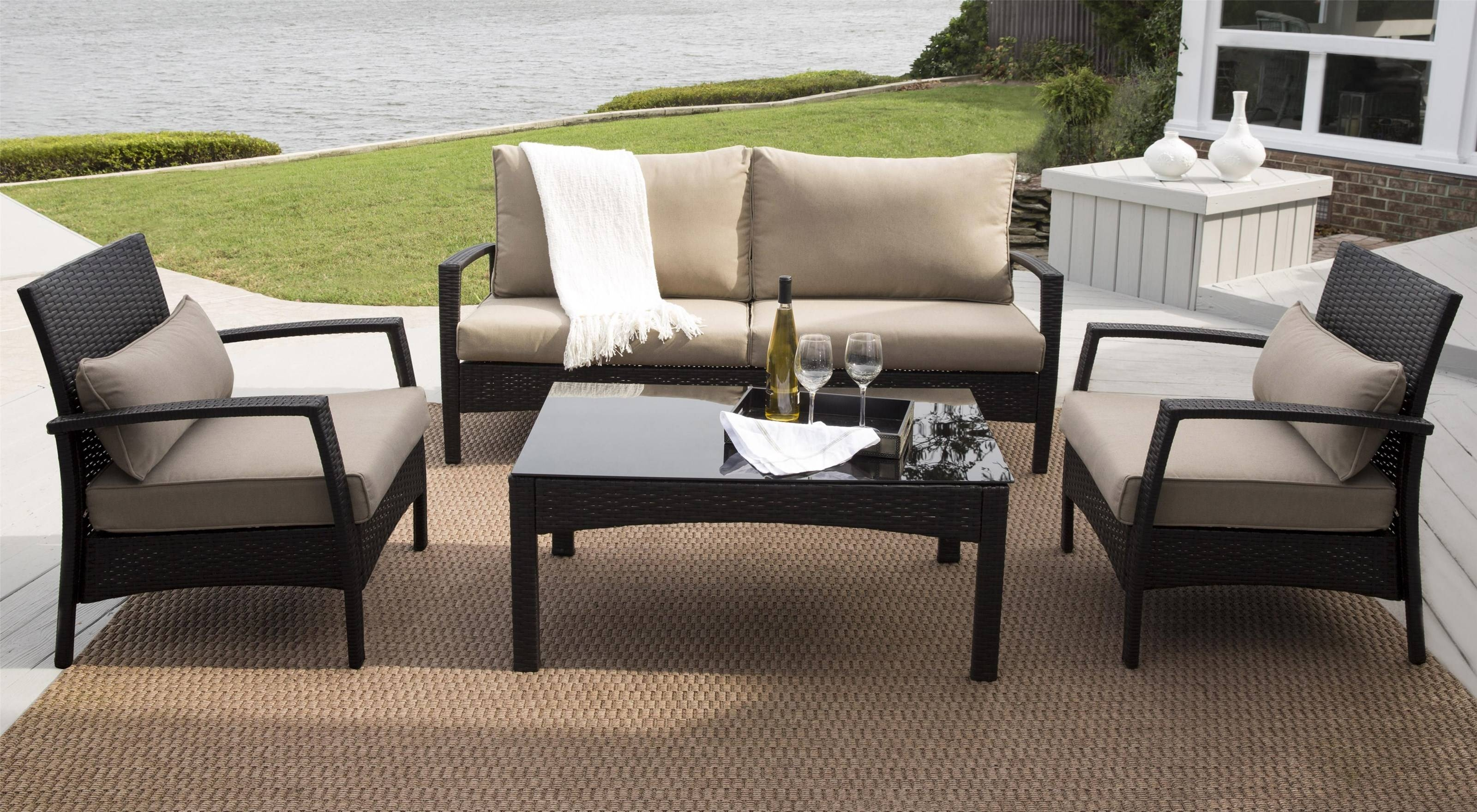 Antigua Outdoor Sofa, 2 Chairs And Cocktail Table Set - Morris intended for Outdoor Sofa Chairs (Image 3 of 30)