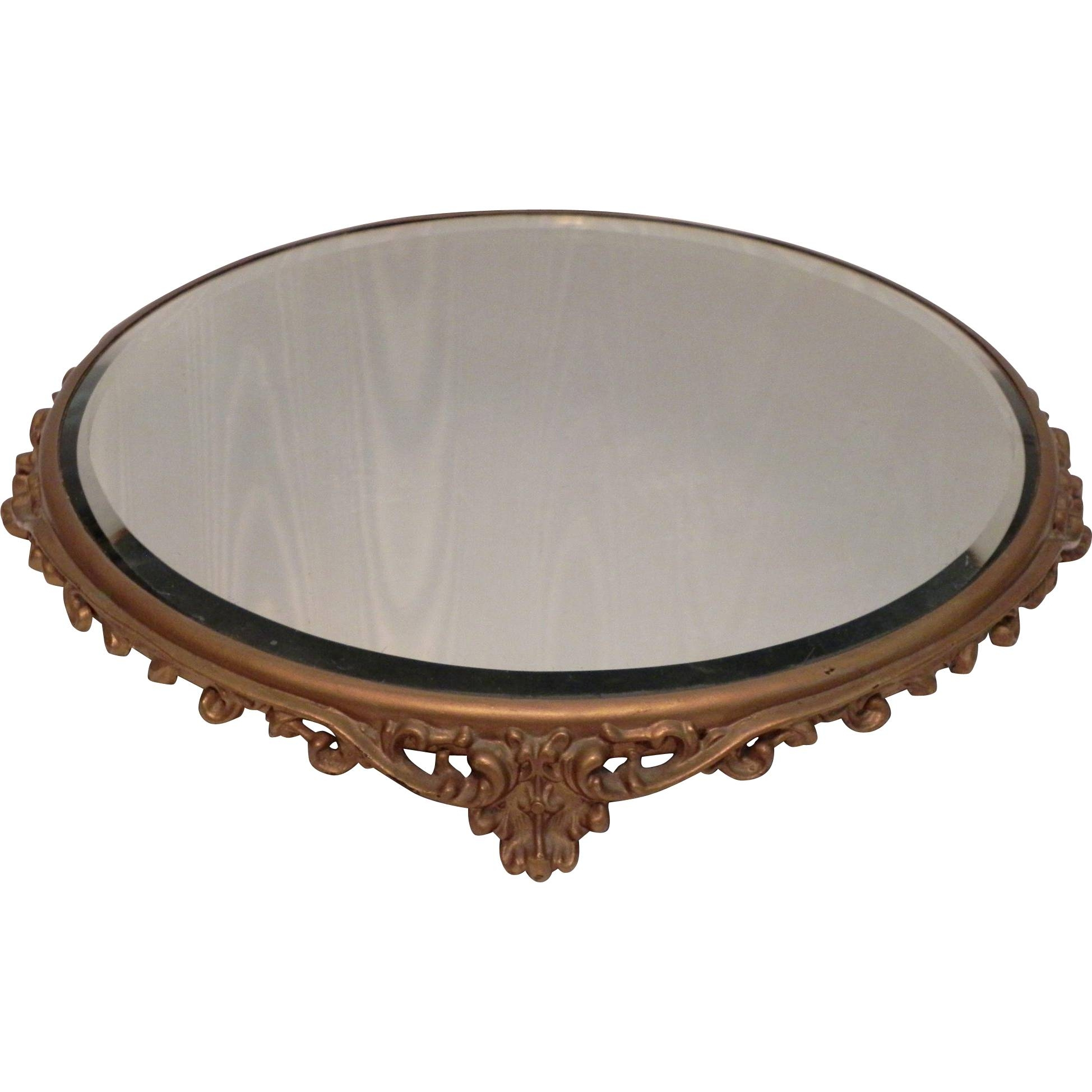 "Antique 12.5"" Round Plateau Tabletop Beveled Mirror Cake Plate with Round Bevelled Mirrors (Image 2 of 25)"