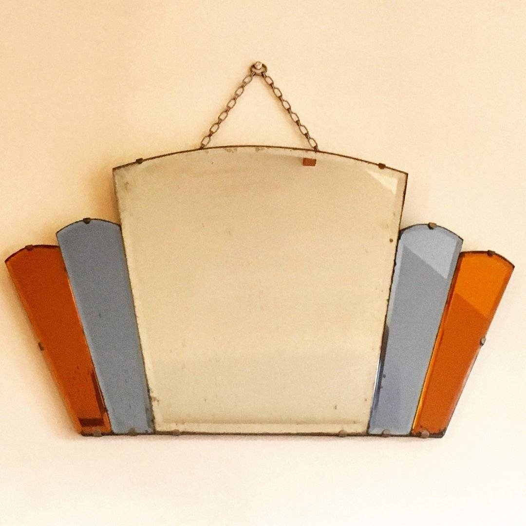Antique Art Deco Coloured Glass Fan Wall Mirror - In A Nutshell inside Antique Art Deco Mirrors (Image 2 of 25)