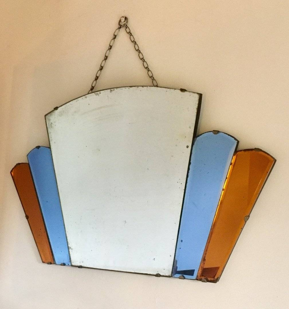 Antique Art Deco Coloured Glass Fan Wall Mirror - In A Nutshell within Antique Art Deco Mirrors (Image 3 of 25)