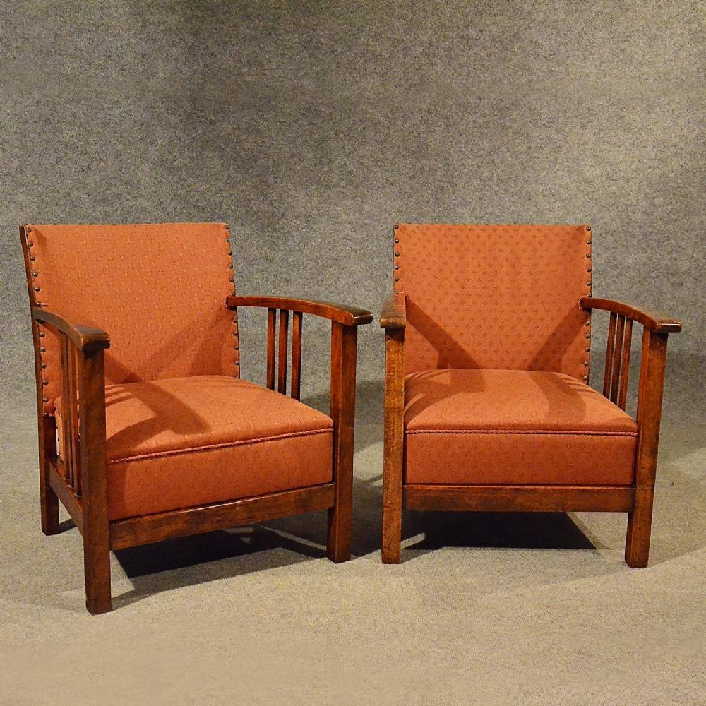 Antique Art Deco Pair Of Armchairs Low Compact Club Chairs Quality intended for Compact Armchairs (Image 11 of 30)